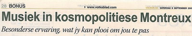 Musiek in kosmopolitiese Montreux. Bonus Volksblad