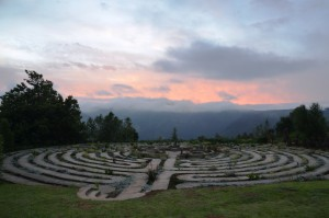 The Edge labyrinth at sunset